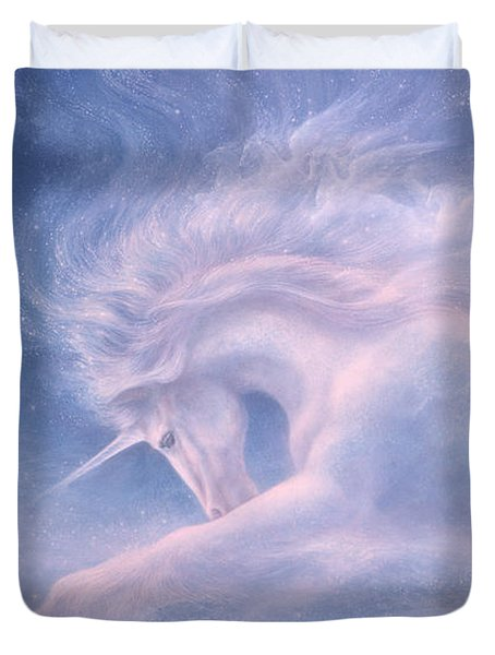 Future Dreaming Unicorn Duvet Cover by Jack Shalatain