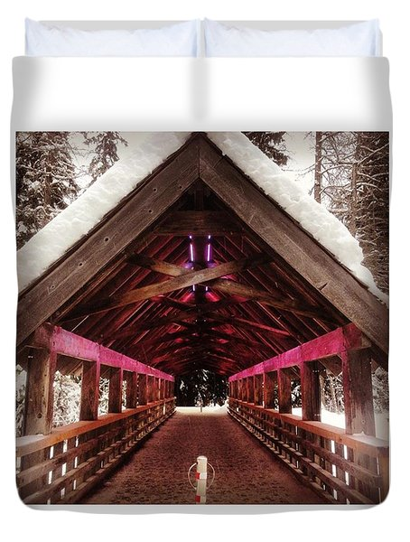 Futuristic Wooden Bridge In The Woods Duvet Cover