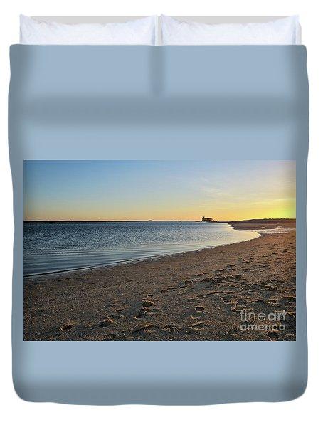 Fuzeta Beach Sunset Scenery. Portugal Duvet Cover by Angelo DeVal