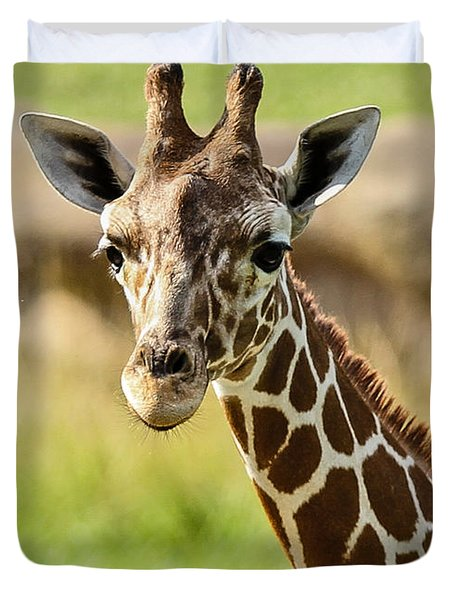 G Is For Giraffe Duvet Cover by John Haldane