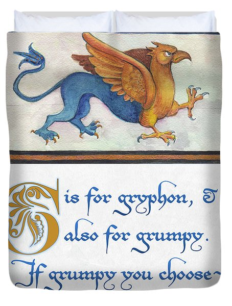G Is For Gryphon Duvet Cover