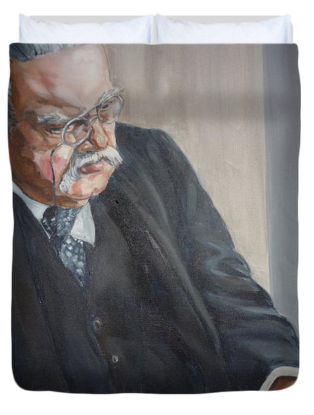 Duvet Cover featuring the painting G K Chesterton by Bryan Bustard