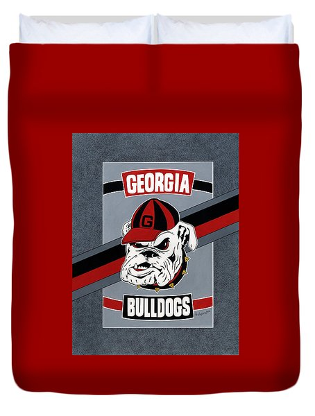 Bulldogs Poster T-shirt Duvet Cover by Herb Strobino