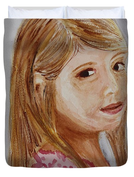 Duvet Cover featuring the painting Gabriella by Donna Walsh