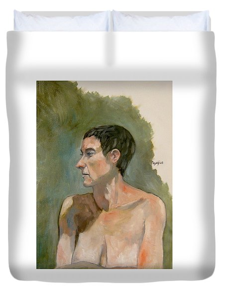 Gabrielle With Long Hair Duvet Cover by Ray Agius