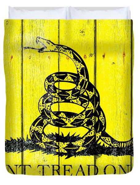 Gadsden Flag On Old Wood Planks Duvet Cover
