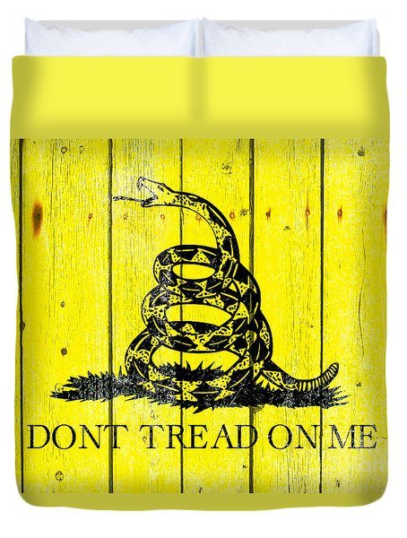 Gadsden Flag On Old Wood Planks Duvet Cover