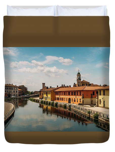 Gaggiano On The Naviglio Grande Canal, Italy Duvet Cover