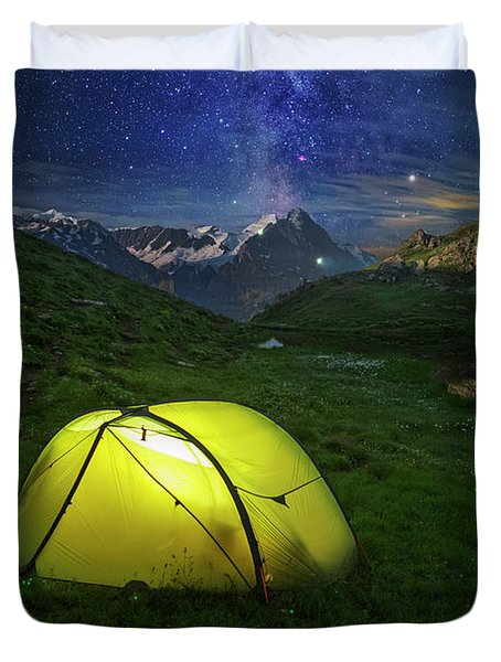 Galactic Eruption Duvet Cover
