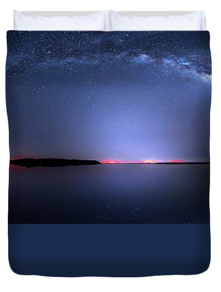Duvet Cover featuring the photograph Galactic Lake by Mark Andrew Thomas