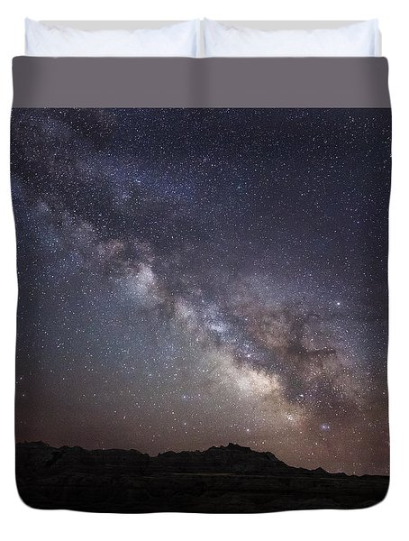 Galactic Light On Badlands National Park Duvet Cover