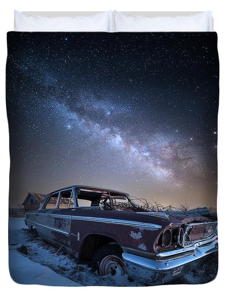 Duvet Cover featuring the photograph Galaxie 500 by Aaron J Groen