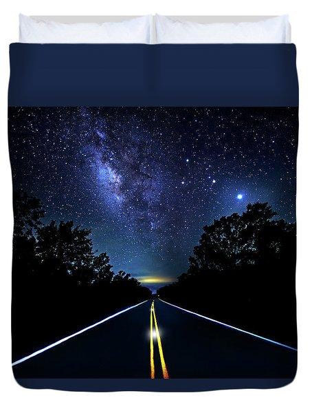 Duvet Cover featuring the photograph Galaxy Highway by Mark Andrew Thomas