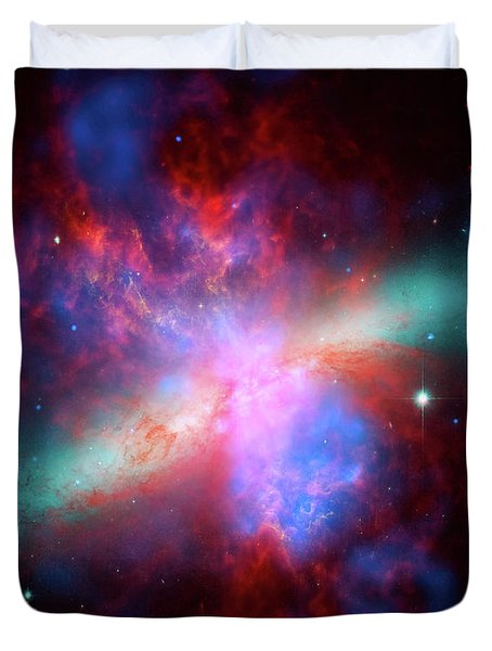 Duvet Cover featuring the photograph Galaxy M82 by Marco Oliveira