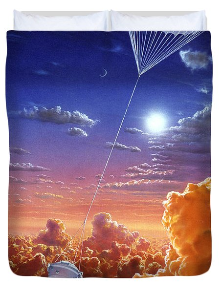 Galileo Space Probe Duvet Cover by Lionel Bret and Photo Researchers