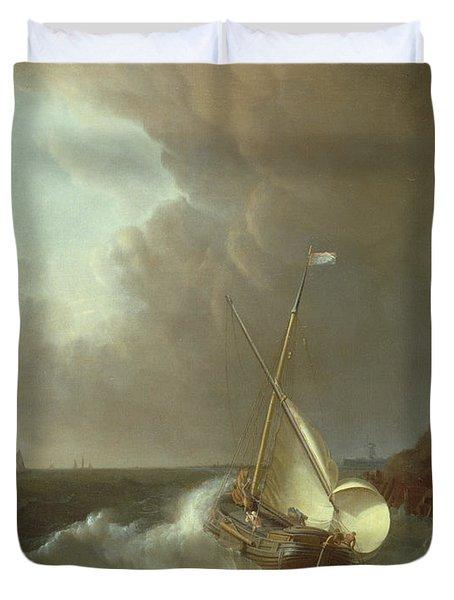 Galleon In Stormy Seas   Duvet Cover by Jan Claes Rietschoof