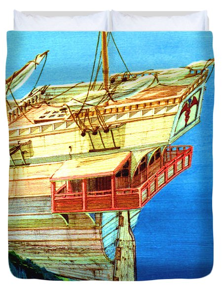 Galleon On The Reef 2 Filtered Duvet Cover