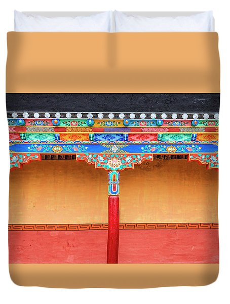 Duvet Cover featuring the photograph Gallery In A Buddhist Monastery by Alexey Stiop