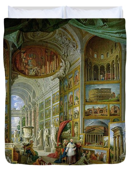 Gallery Of Views Of Ancient Rome Duvet Cover by Giovanni Paolo Pannini