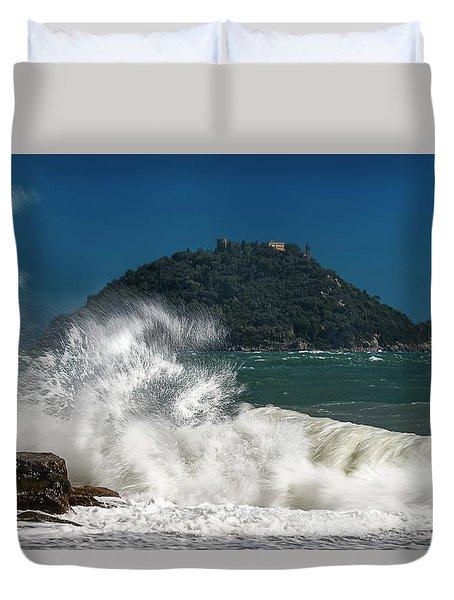 Duvet Cover featuring the photograph Gallinara Island Seastorm - Mareggiata All'isola Gallinara by Enrico Pelos