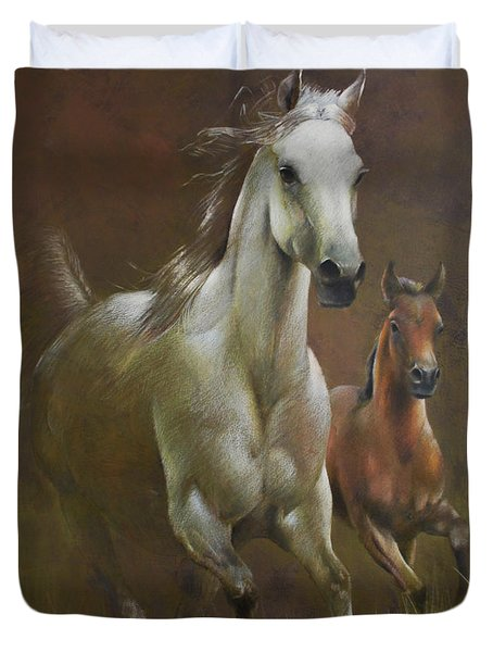 Gallop In The Eyelash Of The Morning Duvet Cover by Vali Irina Ciobanu