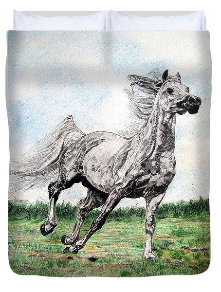 Galloping Arab Horse Duvet Cover by Melita Safran