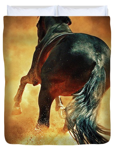 Galloping Horse In Fire Dust Duvet Cover