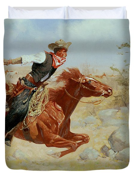 Galloping Horseman Duvet Cover by Frederic Remington