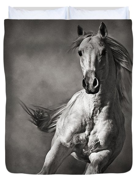 Galloping White Horse In Dust Duvet Cover