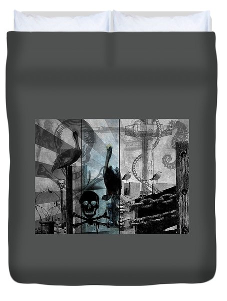 Galveston - Home To Pirates And Pelicans Duvet Cover