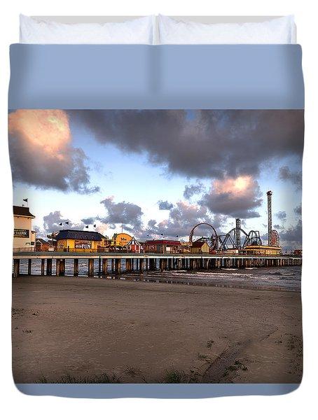 Galveston Island Historic Pleasure Pier Duvet Cover