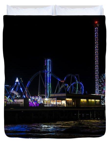 Galveston Island Historic Pleasure Pier At Night Duvet Cover
