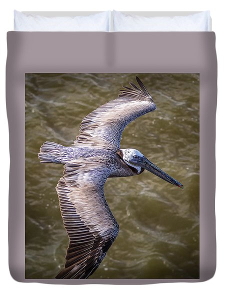Duvet Cover featuring the photograph Galveston Pelican by Gregory Daley  PPSA