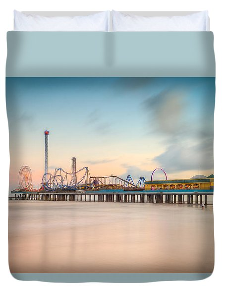 Galveston Pleasure Pier Sunset Duvet Cover by Ray Devlin