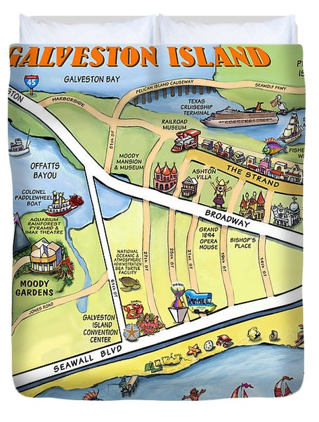 Galveston Texas Cartoon Map Duvet Cover