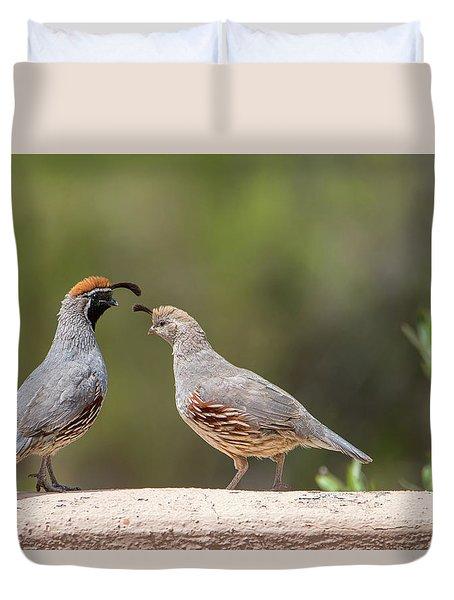 Gambel's Quail Couple Duvet Cover