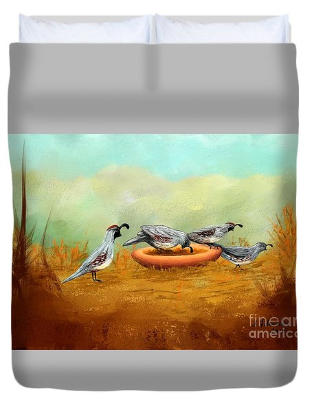 Gambel's Quail On Parade Duvet Cover