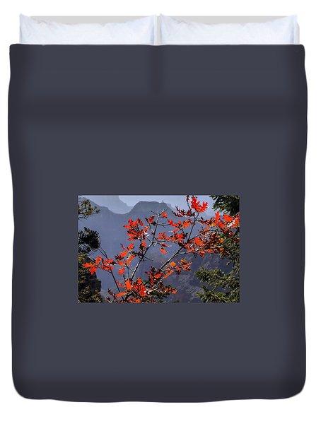 Gamble Oak In Crimson Fall Splendor Duvet Cover