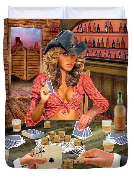 Gamblin' Cowgirl Duvet Cover by Glenn Holbrook