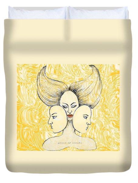 Game Of Masks Duvet Cover by Nareeta Martin
