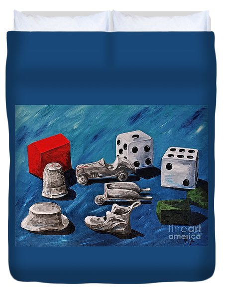 Game Pieces Duvet Cover by Herschel Fall