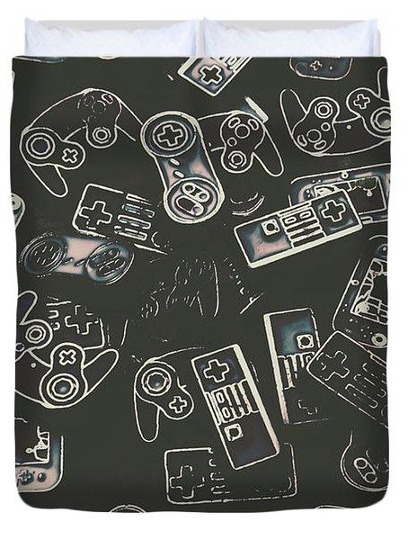 Gamers Of Arcade  Duvet Cover