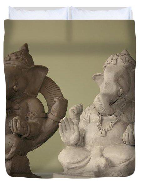 Ganapati Idols Duvet Cover by Mandar Marathe