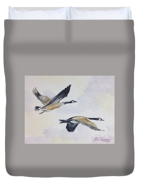 Duvet Cover featuring the painting Gander by Stan Tenney