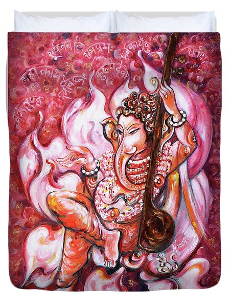 Ganesha - Enjoying Music Duvet Cover