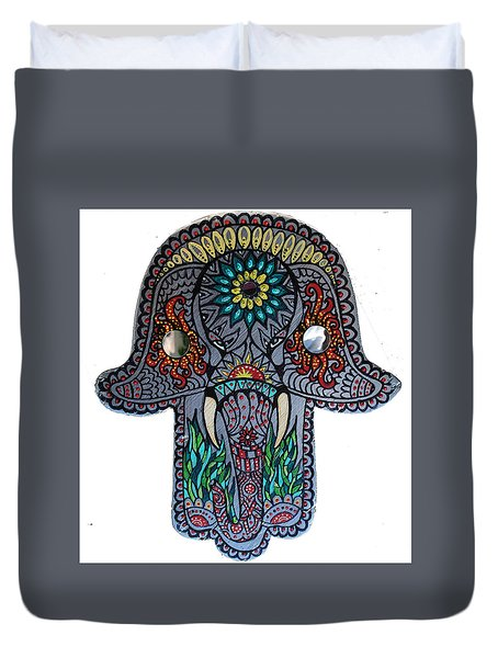 Duvet Cover featuring the painting Ganesha Hamsa by Patricia Arroyo