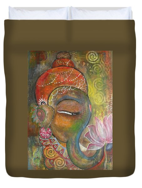 Duvet Cover featuring the painting Ganesha With A Pink Lotus by Prerna Poojara