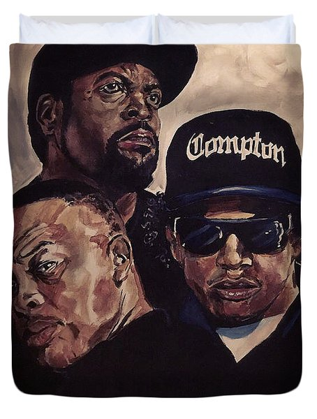 Duvet Cover featuring the painting Gangsta Trinity by Joel Tesch