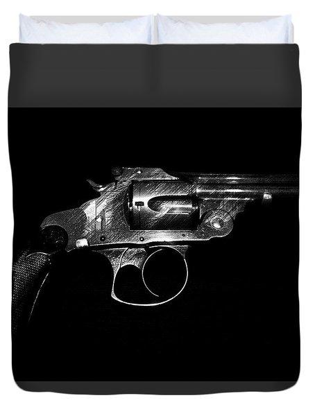 Duvet Cover featuring the mixed media Gangster Gun by Daniel Hagerman