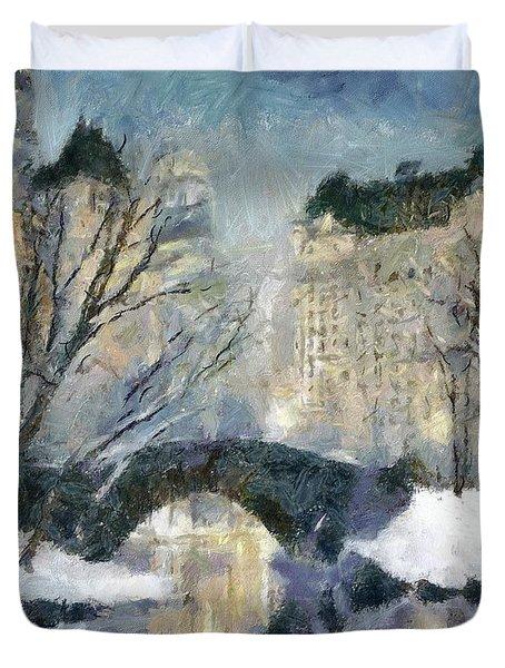 Gapstow Bridge In Snow Duvet Cover by Dragica  Micki Fortuna